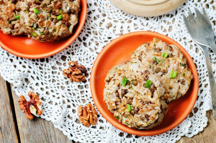 brown rice lentils walnuts spicy burgers
