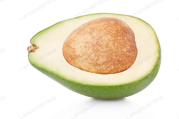 Avocado section on white, clipping path