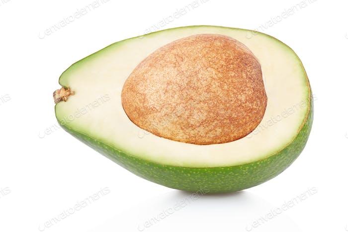 Avocado-Abschnitt auf weiß, Clipping-Pfad