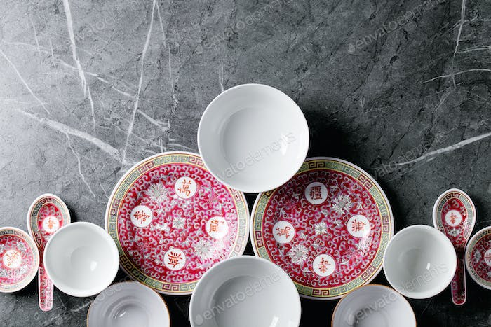 Variety of empty Chinese ceramic plate