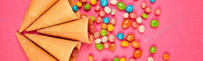 Banner of Ice cream waffles cones with colorful candy