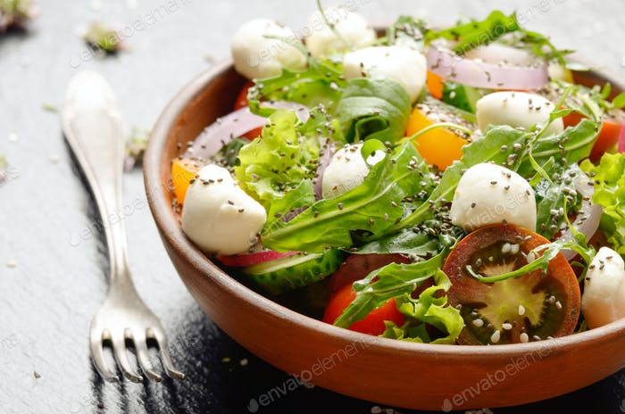 Vegetable salad with mocarella cheese, lettuce, cherry tomatoes