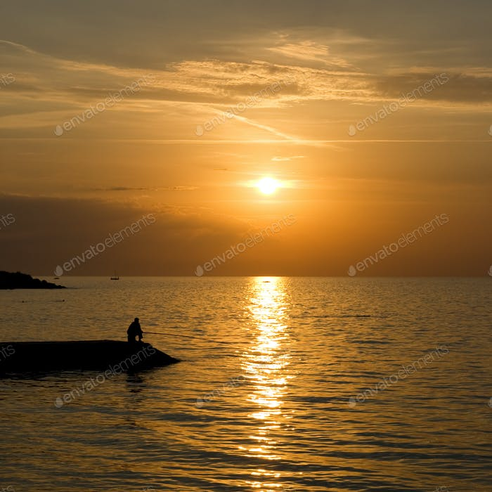 The natural landscape, sunset over the sea