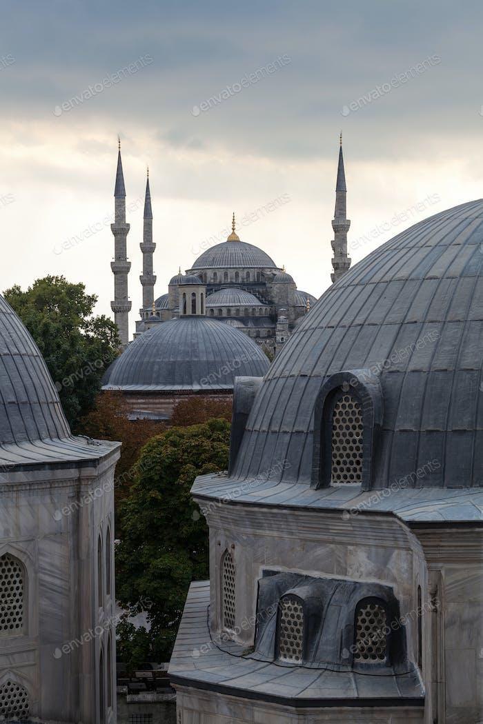 54548, Kuppeln und Türme der Blauen Moschee, Istanbul, Türkei