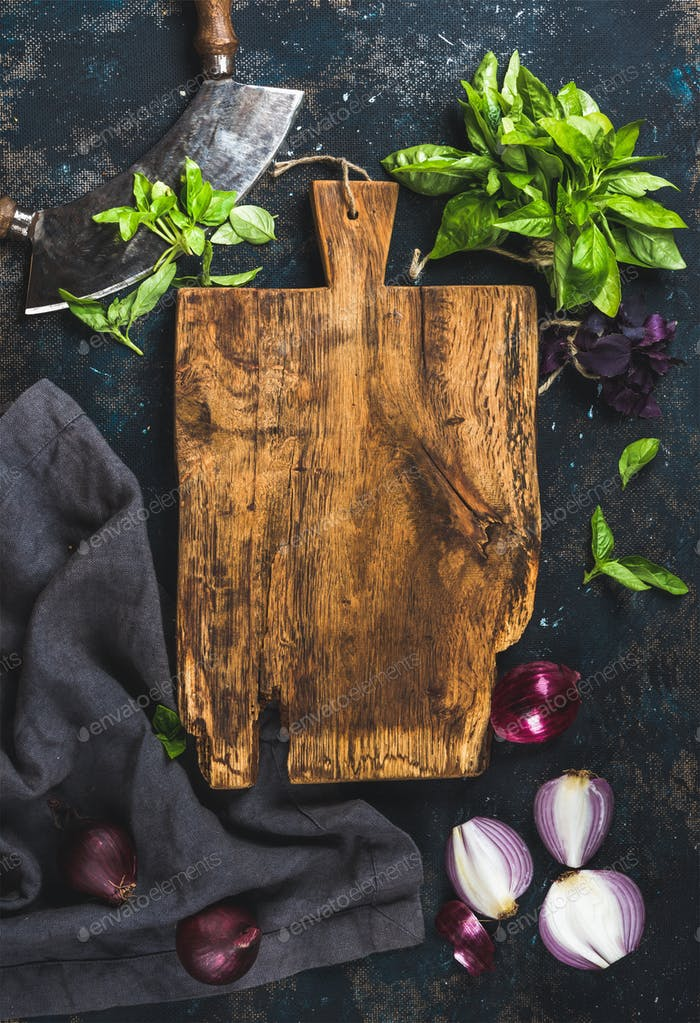 Healthy food cooking background over grunge dark blue plywood texture