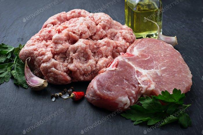 Raw fresh steak and minced  meat