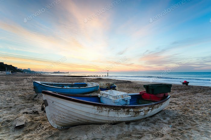 Blue & White Boats on Beach at Sunrise