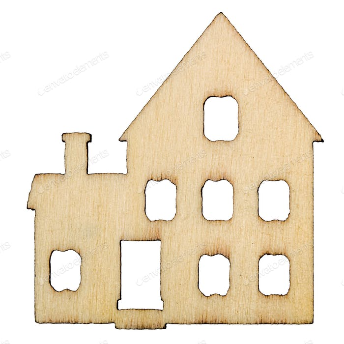 Wooden house facade isolated on white background