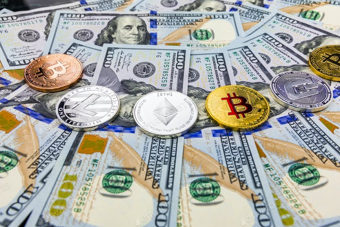 Bitcoin and cryptocurrency on banknotes of one hundred dollars