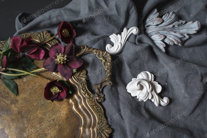 Ancient copper tray and flowers