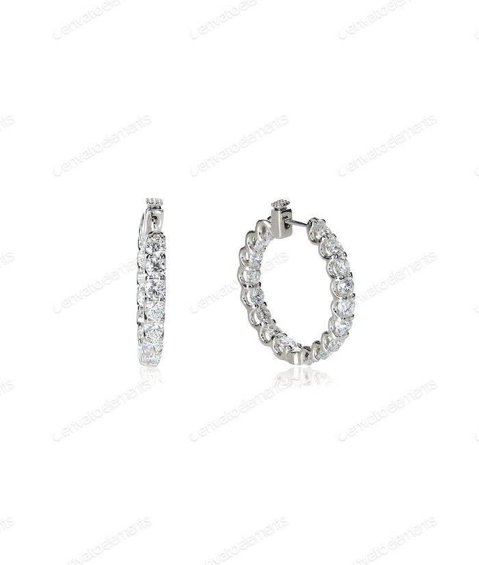 Diamond hoop dangle pave elaborate bridal earrings