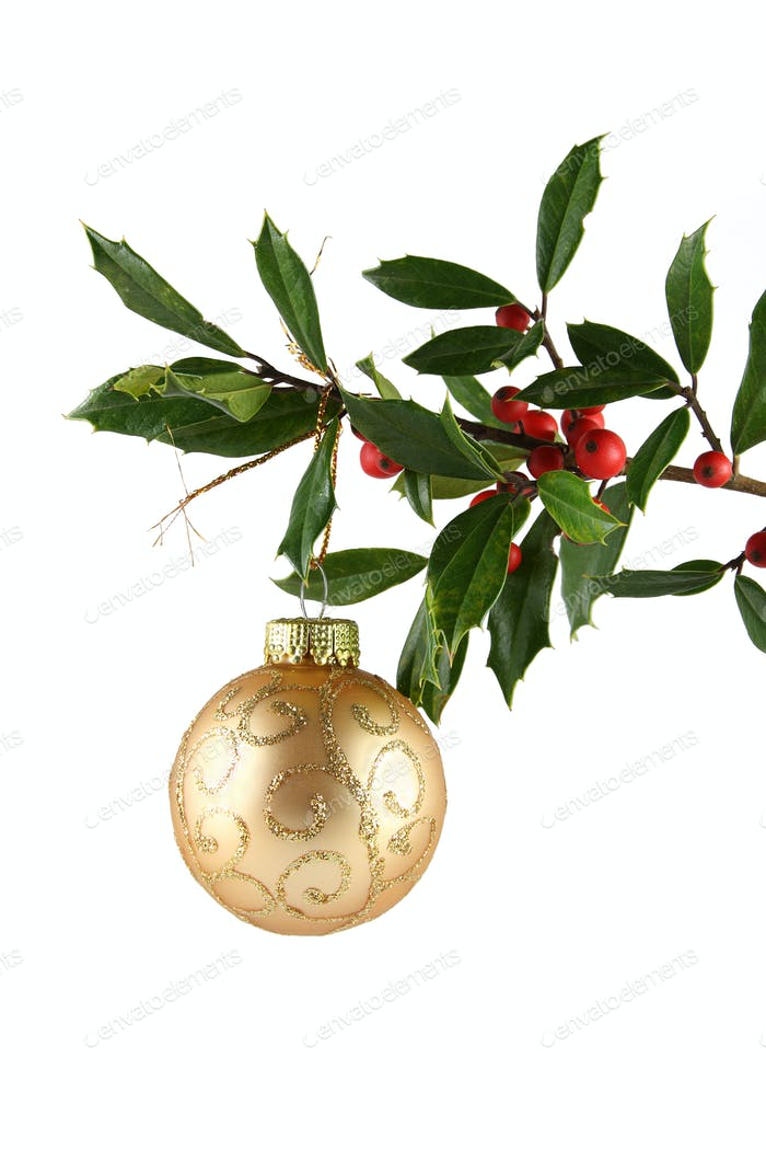 Holly and Gold Ornament