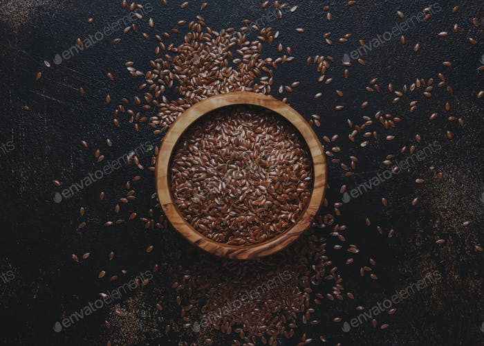 Raw flax seeds in bowl