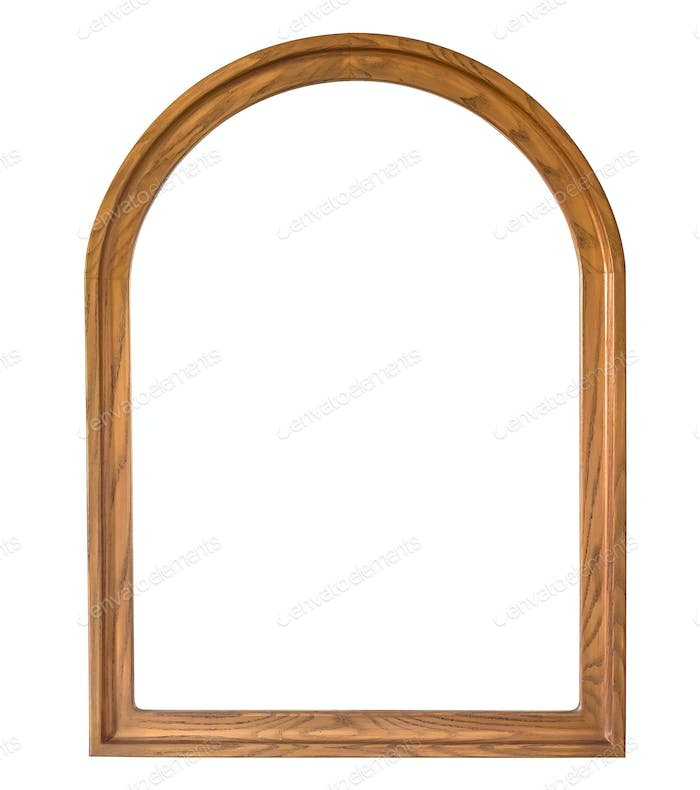 Rounded wooden picture frame on white background