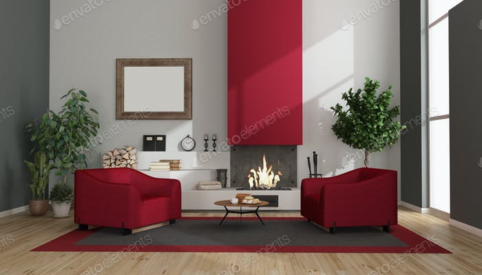 Modern living room with fireplace and armchairs
