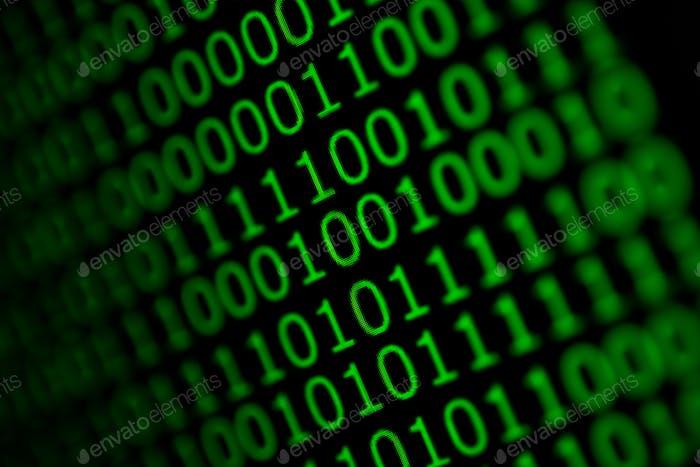Código numérico continuo en color verde, datos web abstractos en código binario.