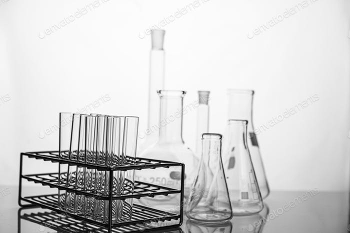 Science tubes arranged on the shelf.