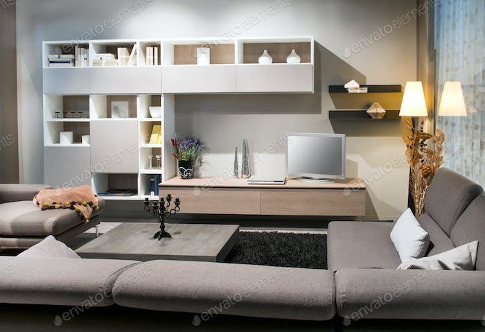 Modern living room interior with comfortable sofas