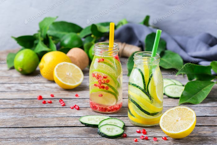 Fresh cool lemon cucumber rosemary infused water detox drink