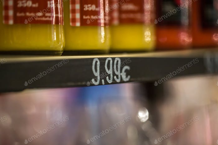 the price tag on fruit counter