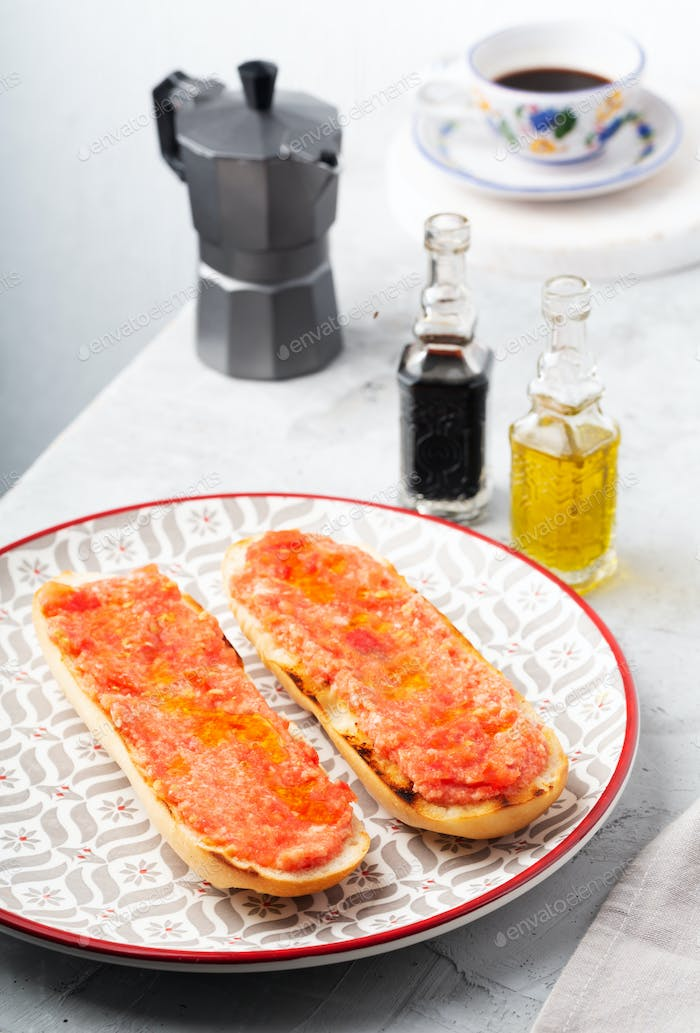 Spanish tomato toast, traditional breakfast or lunch