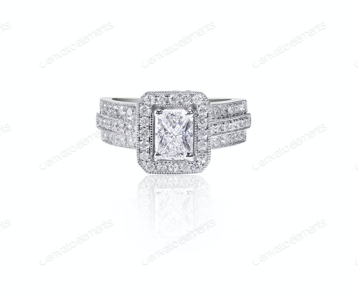 Large emerald cut Diamond Wedding band engagement ring