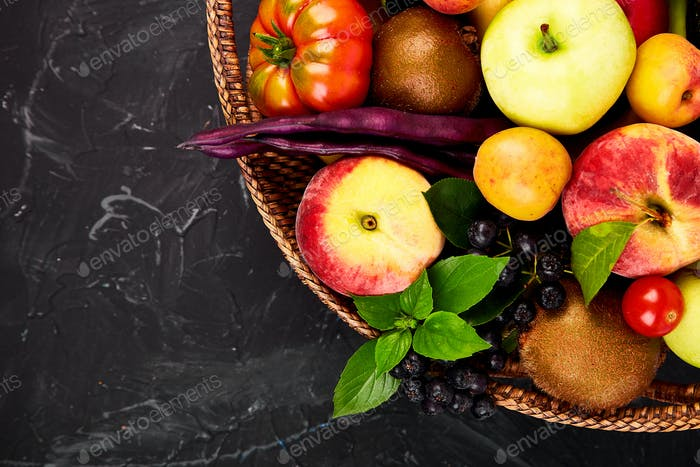 Healthy colorful food selection: fruit, vegetable, superfood