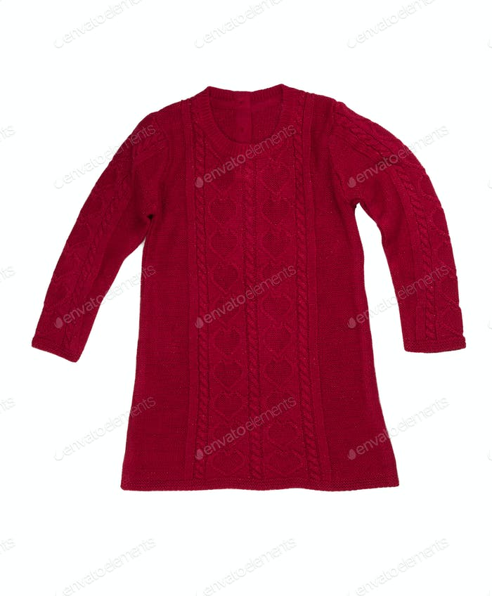 Red knit dress, isolate
