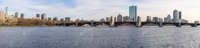 Panorama over of The Longfellow Bridge over the charles river at the evening time