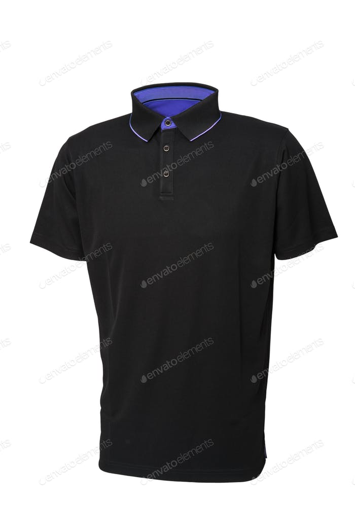 Black tee shirt  with inside blue collar isolated