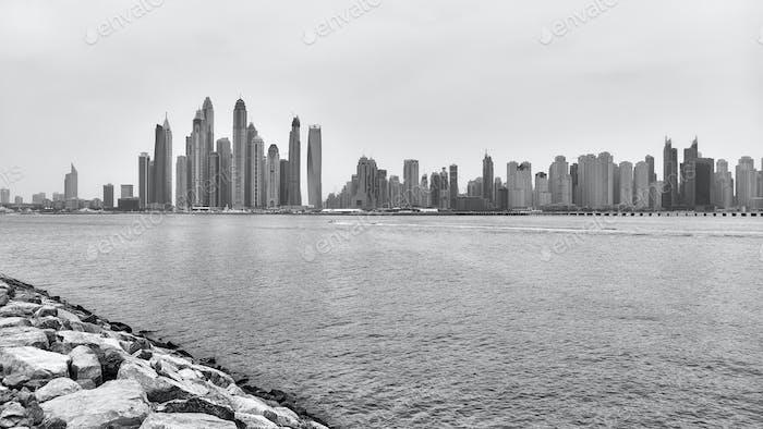 Dubai waterfront skyline, United Arab Emirates.