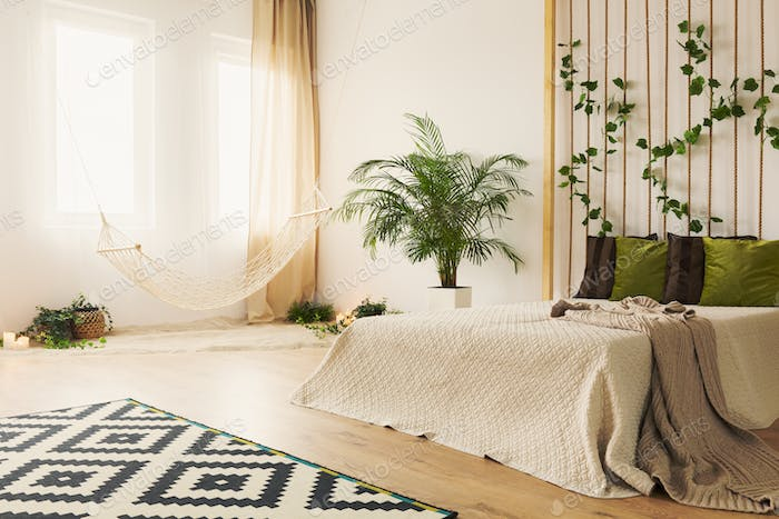 Sand bedroom with double bed