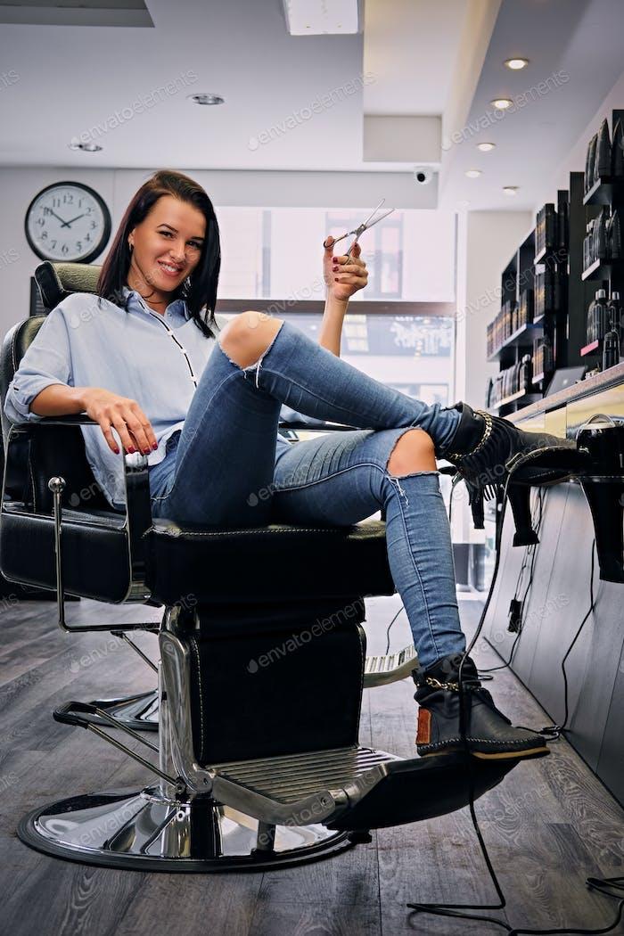 Female hairdresser in a salon.