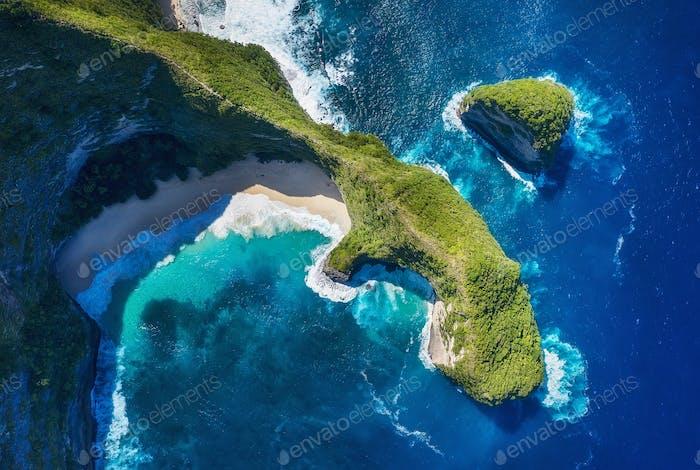 Aerial view at sea and rocks. Kelingking beach, Nusa Penida, Bali, Indonesia.