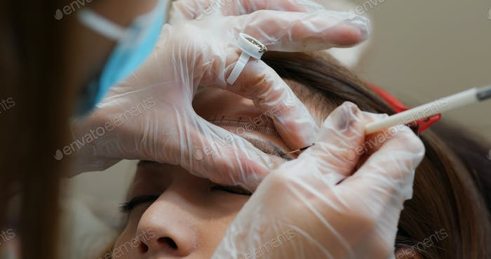 Microblading eyebrow tattoo, permanent makeup