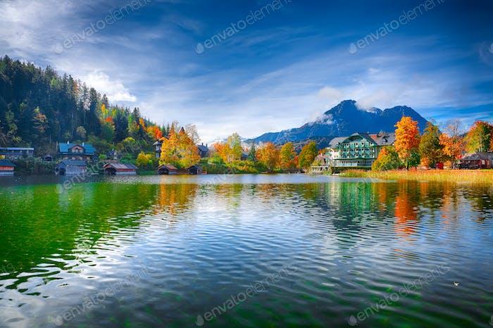 Picturesque autumn scene of Altausseer See lake