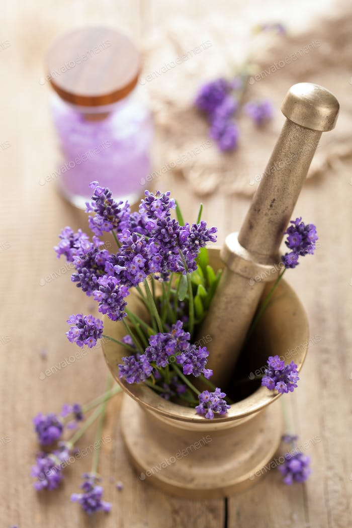 mortar with fresh lavender