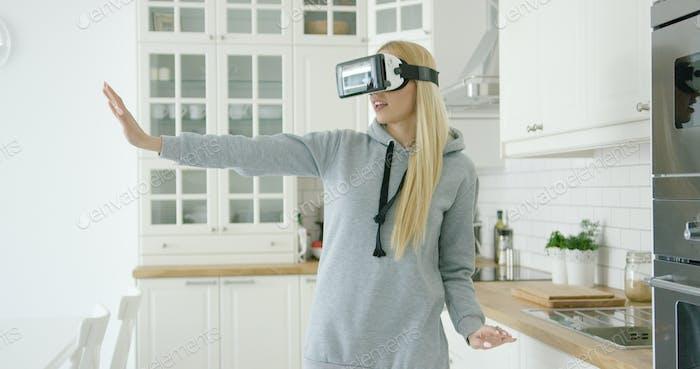 Woman enjoying VR headset