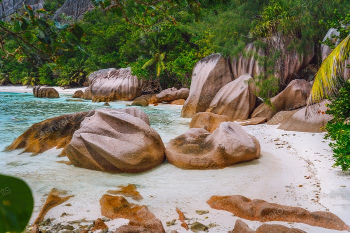 Tropical beach with granite boulders at Seychelles. Travel, Exotic tourism and nature concept