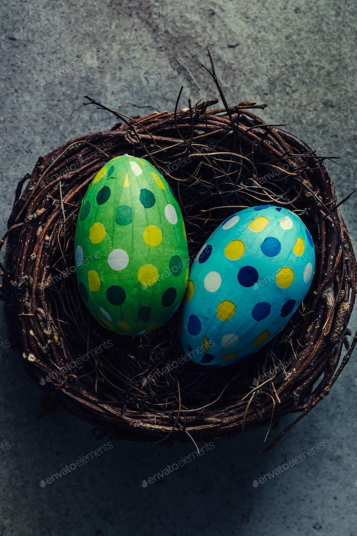Easter Eggs in bird nest