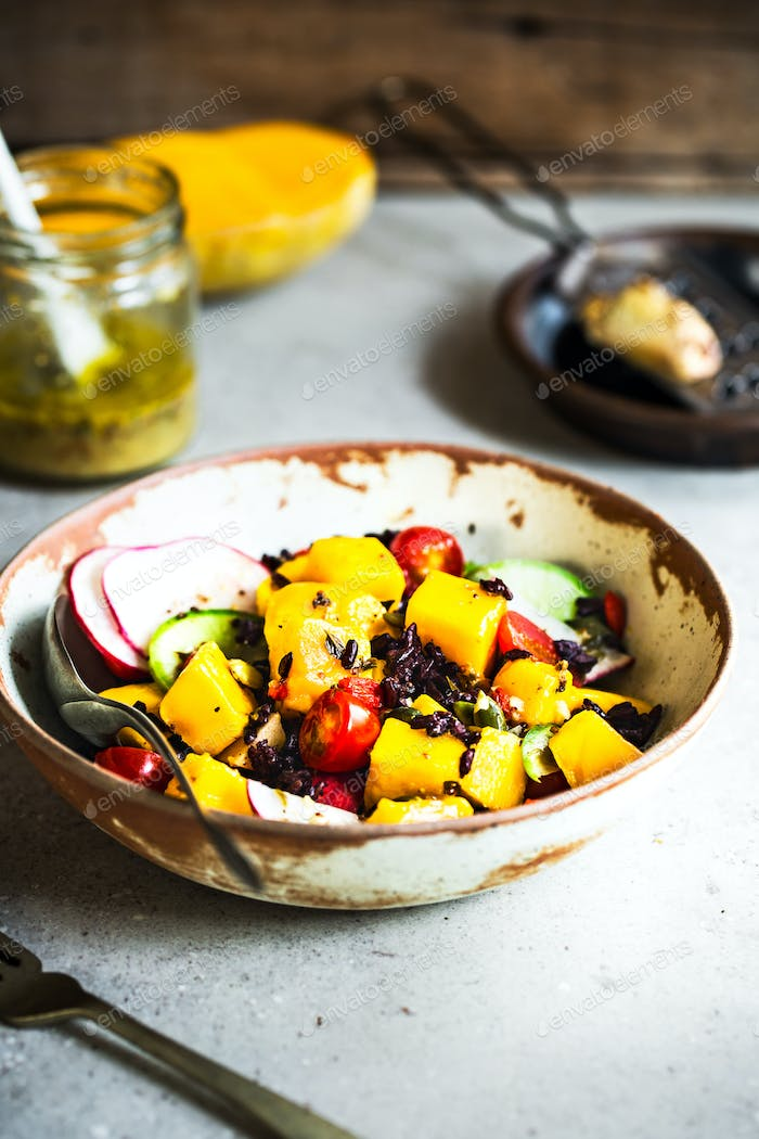 Mango with Thai Riceberry Salad