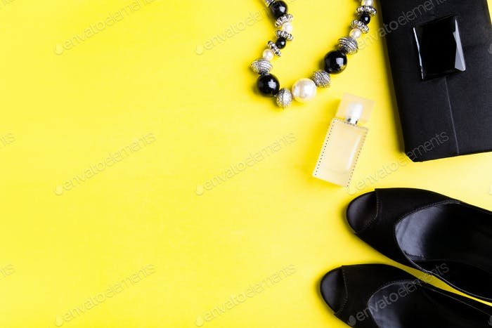 Fashion Woman Accessories Set. Black Shoes, bracelet, perfume and bag