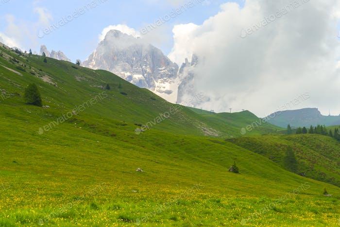 Dolomitenlandschaft im Venegia-Tal im Sommer