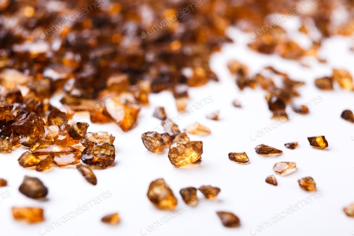 Brown Amber stones on white background