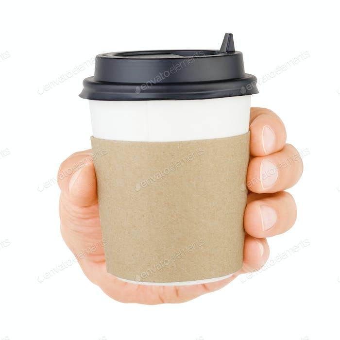 Hand mit Kaffeepappbecher