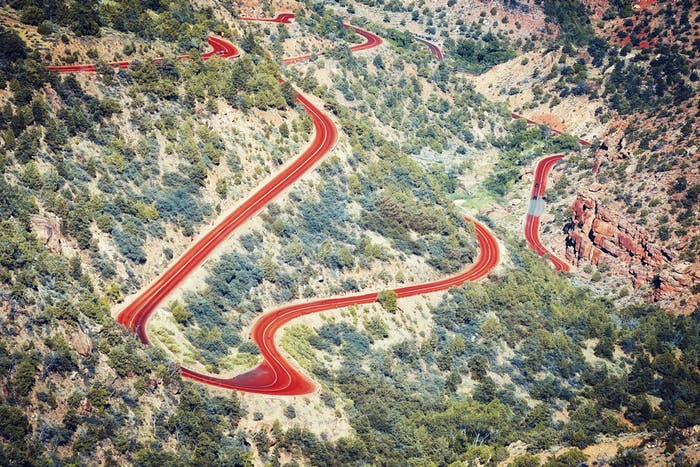 Aerial view of a winding road, Utah, USA.