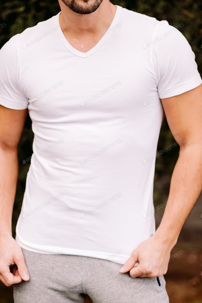 Placeit man in white t-shirt mockup outdoors