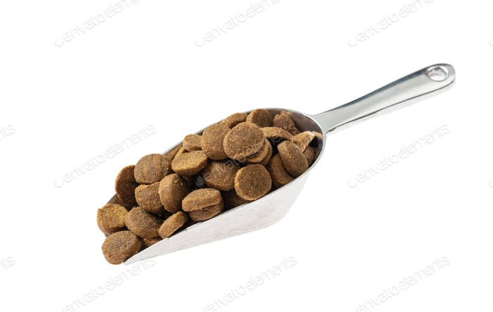 Scoop with pet food, cut out and isolated on white background.