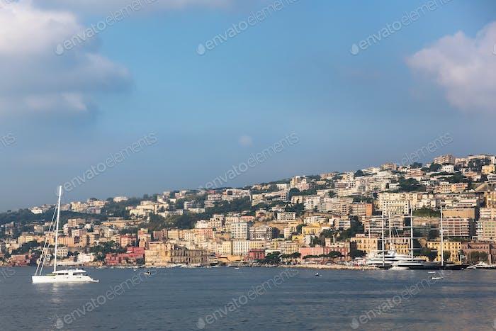 View of coastline in Naples