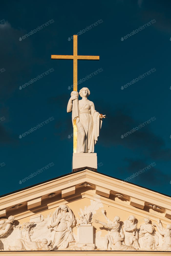 Vilnius, Lithuania. Close View Of Statue Of St. Helena With Cross On Roof Of Cathedral Basilica Of